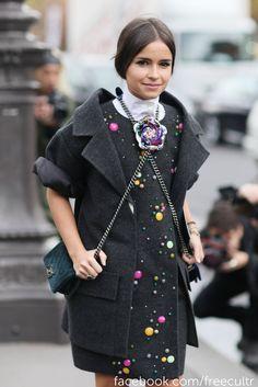 Miroslava Duma at Paris Fashion Week Street Style Spring 2013