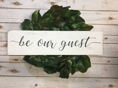 "Excited to share the latest addition to my #etsy shop: Be Our Guest Wood Sign | Guest Room Wall Decor | Rustic Guest Room Sign| Wooden Signs | 28"" x 7.25"" 