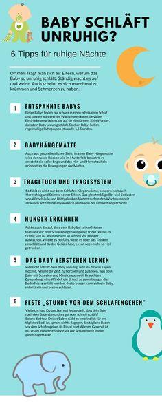 Dein Baby schläft unruhig. Es hat Probleme beim Einschlafen. Mit diesen 6 Tipps wird dein Baby leicht einschlafen und besser durchschlafen. Babys brauchen manchmal etwas Zeit und Geduld, damit sie das schlafen lernen. Dabei sollten Eltern mit viel Liebe und Rücksicht ihre Kinder verstehen lernen und liebevoll in den Schlaf begleiten, ohne Zwang und Druck.
