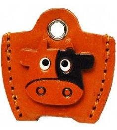 Leather Key Cover Cap Keychain Cow