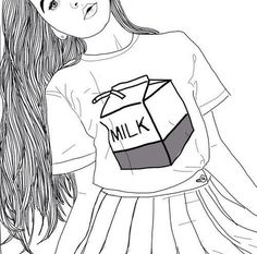 art, black and white, drawing, fashion, girl, grunge, milk, First ...