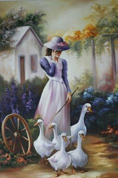 Maria Madalena, Artist ~c.c~ Walking The Geese~Painted On Linen Pictures To Paint, Art Pictures, Arte Country, Fine Art, Beautiful Paintings, Female Art, Painting & Drawing, Amazing Art, Landscape Paintings