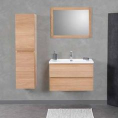Meuble salle de bain 60 cm Chêne, 2 tiroirs, plan composite ...
