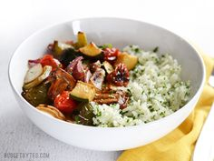 Broiled Balsamic Vegetables with Lemon Parsley Rice - Budget Bytes (add chickpeas, mozz, or tofu for added protein)