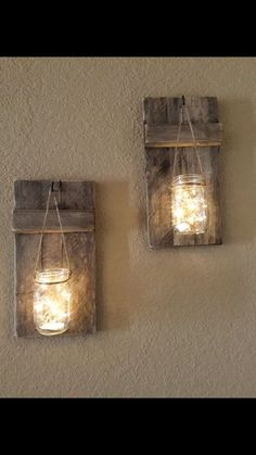 This listing is for beautiful rustic candle holders that showcase hanging mason jars with battery operated L.E.D. firefly lights. They are made from reclaimed wood and are stained. You may order with firefly lights or without firefly lights. Each of these carefully hand-crafted candle holders will have unique characteristics. They will have cracks, holes, knots and color variations all unique to itself. This is what makes each piece one of a kind and a sought after treasure! The actual…