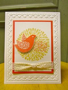 handmade get well card ... Betsy's blossoms ... white with orange and yellow stamping ... embossing folder frame ... good balance in the layout ... like it! ...Stampin' Up!