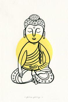 Yellow Buddha Art Print by ginaperry Buda Wallpaper, Wallpaper Backgrounds, Accessoires Hippie, Meditation Art, Meditation Symbols, Eye Illustration, Buddha Art, Hippie Art, Psychedelic Art
