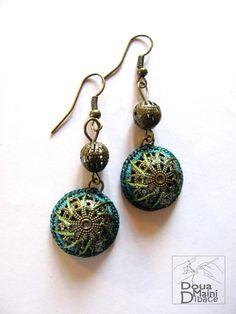 Crochet green earrings