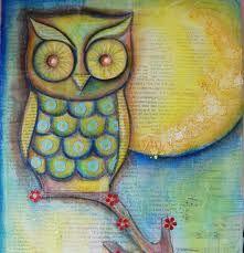 Mixed media moon owl - Google zoeken