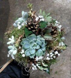 Bouquet de mariée. Plantes de succulentes.. www.fleursetdéco .fr