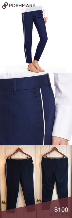 "VINEYARD VINES 🆕 Tuxedo Ankle Pant Nautical Navy VINEYARD VINES Tuxedo Ankle Pant Nautical Navy and light gold piping on sides. NWT. Offers welcome.  · Self: 97% cotton, 3% spandex  · Trim: 57% cotton, 26.5% silk, 16.5% lurex  Features: · Gold jaquard lurex piping · Straight leg · Front zipper, hook and bar clasp  · Side and back pockets  · Inseam: 28"" (based off size 6)  · Imported  Care Instructions: · Machine wash (according to manufacturer website). Dry clean (according to tag). Size…"