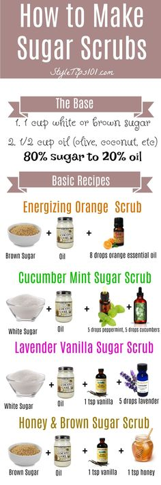 Amazing Remedies Learn how to make sugar scrubs from scratch. SO easy and SO cheap! - Learn how to make sugar scrubs at home by using the ratio. Use sugar to oil, and add in your favorite essential oils! Sugar Scrub Homemade, Sugar Scrub Recipe, Homemade Soaps, Body Scrub Recipe, Homemade Body Scrubs, Homemade Exfoliating Scrub, Homemade Hair, Homemade Crafts, Zucker Schrubben Diy