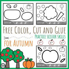 Color Cut Glue Scissor Practice for Fall Fall is certainly in the air here. The apples are starting to get picked, a few leaves are falling and pumpkins will be right around the corner. Here are three black and white activity pages to practice coloring, cutting out simple shapes, planning out where to glue the …