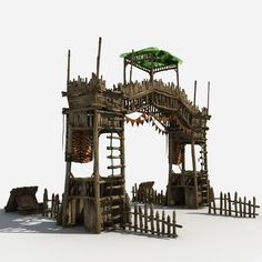 model Gate Guard Tower, formats MAX, OBJ, architectural asian, ready for animation and other projects Fantasy Town, Medieval Fantasy, Fantasy World, Casas Game Of Thrones, Casa Viking, Building Concept, D&d Dungeons And Dragons, Fantasy Places, Exterior