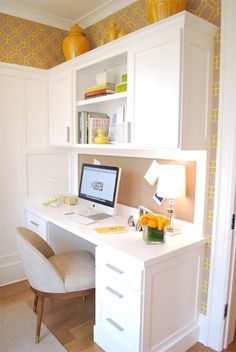 2013 DC Design House // The Morning Room: Iantha Carley Interiors Photo Credit: Christina Han, Proper Hunt LLC Office Nook, Guest Room Office, Home Office Space, Home Office Design, Computer Nook, Built In Desk, Home Kitchens, Sweet Home, New Homes