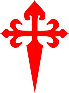 The Cross of St. James - Cross of Santiago- is similar to a Cross flory fitchy and is formed by a cross flory, where the lower part is fashioned as a sword blade (rather like fitched or fitchee or fitchy)[2] - making this a cross of a warrior. It was popularized then due to its resemblance to a sword, symbolizing in a sense taking up the sword for the name of Christ.