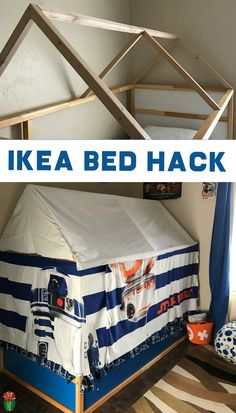 Check out this easy DIY Kura bed hack to create an Ikea Kura Bed tent complete with curtains. It's a fun IKEA hack for your child's bedroom. Kura Ikea, Ikea Bed Hack, Murphy-bett Ikea, Ikea Hacks, Boys Bed Tent, Do It Yourself Ikea, Cabana, Diy Bett, Simple Bed
