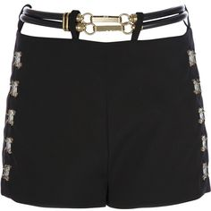 PACO RABANNE belt detailed shorts (€1.070) ❤ liked on Polyvore featuring shorts, pants, buckle shorts, belted shorts and paco rabanne