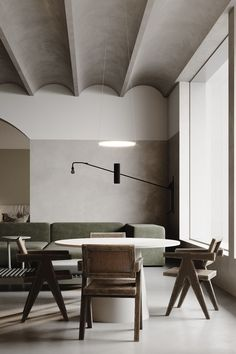 Green and Grey on Behance Minimalist Interior, Modern Interior Design, Interior Design Inspiration, Interior Architecture, Interior And Exterior, Modern Ceiling Design, Contemporary Neutral Dining Room, Loft Design, House Design