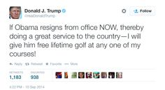 News broke today that President Obama was rebuffed in his attempt to golf at several exclusive country clubs over the Labor Day weekend while he waited around for the wedding of an MSNBC host and his personal chef. (Must be nice to have that kind of downtime.) The rejection wasn't personal, it's just that no…