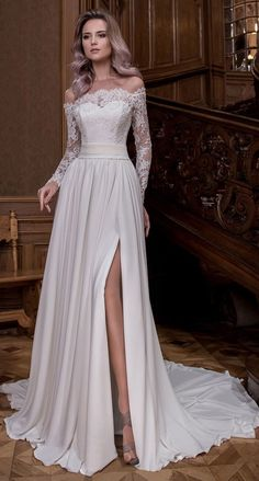 Fabulous Tulle & Satin Chiffon Off-the-shoulder Neckline A-line Wedding Dresses With Slit & Beaded Lace Appliques