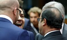 Greek PM Alexis Tsipras talks to Charles Michel, Francois Hollande and Jean-Claude Juncker
