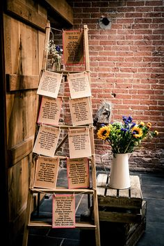 vintage ladder for your wedding seating chart display Rustic Wedding Foods, Rustic Wedding Seating, Rustic Wedding Showers, Rustic Wedding Backdrops, Rustic Wedding Photos, Wedding Reception Backdrop, Rustic Wedding Centerpieces, Seating Chart Wedding, Seating Charts