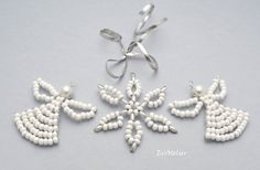 NEW in my Etsy shop / Xmas decorations ♥ 2 angels and a snowflake by EvAtelier1
