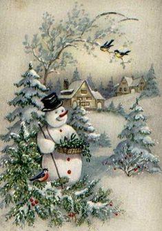Old time Christmas scene. Old Time Christmas, Christmas Scenes, Christmas Past, Christmas Greetings, Christmas Holidays, Christmas Music, Christmas Snowman, Christmas Stuff, Christmas Cookies