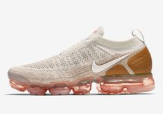 c9e446fb75db4e The Nike Air VaporMax Moc 2 Sail (Style Code  comes in a Sail Flyknit upper  paired with Blue and Green accents atop a clear VaporMax sole.