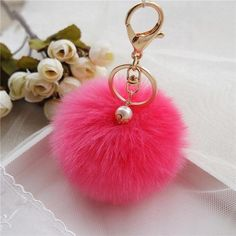 b696cad92dc05 2016 Key Chains Jewelry Rabbit Fur Ball Keychain Bag Plush 8cm Pompom Car  Pompons Ball Bag Charms Keyring-in Key Chains from Jewelry & Accessories on  ...