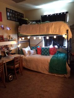 #dormroom #college #dorm bunkbeds to free up space carpet from home