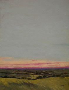 Original sunset landscape skyscape painting - Last light