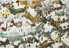 A village winter. - by Ilon Wikland Winter Illustration, Christmas Illustration, Children's Book Illustration, Hunters In The Snow, Best Jigsaw, Painting Snow, William Blake, Fairytale Art, Birds Eye View