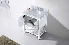 Virtu USA - ES-30030-WMRO-WH-NM - Winterfell 30 in. Bathroom Vanity Set front view Marble Vanity Tops, Marble Top, White Marble, 30 Inch Bathroom Vanity, Round Sink, Base Cabinets, Bath Vanities, Classic Elegance, 30 And Single