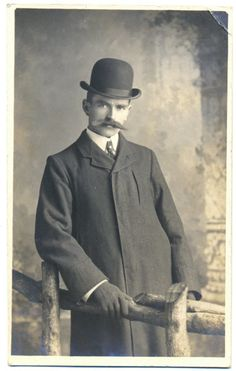 Vintage Real Photo Postcard of a Victorian Man in a Bowler Hat - dated 1904. £3.00, via Etsy.