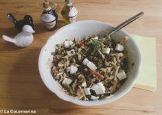 Linsensalat mit Apfel und Feta / Salad with lentils, feta and apples Different Salads, Feta Salad, Lentils, Cereal, Oatmeal, Breakfast, Food, Apple, Recipies