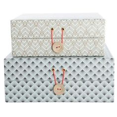 Very pretty decorative storage box set by House Doctor in muted grey and beige colours look beautiful on shelves or on desks, or anywhere that needs pretty Modern Storage Boxes, Decorative Storage Boxes, Storage Baskets, House Doctor, Vintage Home Accessories, Box Houses, Decoration Inspiration, Grey And Beige, Unique Furniture