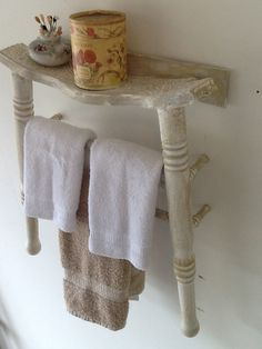 Another old chair we made into a towel rack