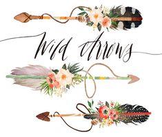 Watercolor wild arrows clip art /hand drawn Clipart/Tribal/logo/boho style/Wedding invitation/Individual PNG files