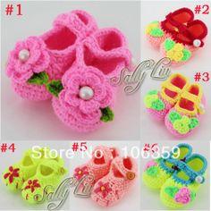 Newborn Baby Handmade Crocheted Shoes Infant Flower Booties Sandals Children Fist Warker 10pairs Free Shipping $32.00