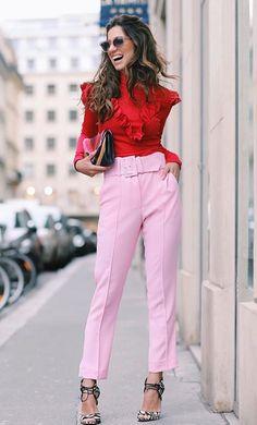 Pink and red Fashion Mode, Net Fashion, Pink Fashion, Fashion Addict, Office Fashion, Love Fashion, Runway Fashion, Fashion Trends, Fashion Outfits