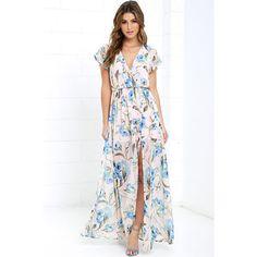 Where Wildflowers Grow Peach Print Maxi Dress