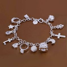 "7.5"" Sterling Silver Plated Charm Bracelet with 17 Charms"