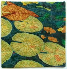 'Leafing My Mark' - another water lily leaf art quilt from Deborah Wirsu Textile Artist. Hand dyed and commercial fabrics, fabric painted highlights, free motion stitching.