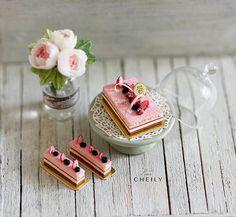 Dollhouse miniature dessert- Berries Opera Cake Set (3 cakes)