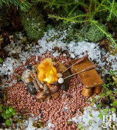 This stone fire pit is the perfect accent for an outdoorsy fairy garden.