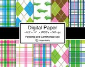 argyle digital paper pack preppy plaid backgrounds - Posh n Preppy - 10 Digital Printable Papers - 8.5 x 11 JPEG - Personal & Commercial Use