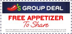 FREE Appetizer at Chili's Grill and Bar on http://hunt4freebies.com