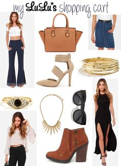 Shopping Cart: Lulus - booties, satchel, too handle, rings, triangle necklace, bangles, gold, dress with slits, leg slits, flare, flare sleeve, flare pants, bell bottoms, denim skirt, pointed heels, pumps, sunnies, sunglasses, summer fashion blog post